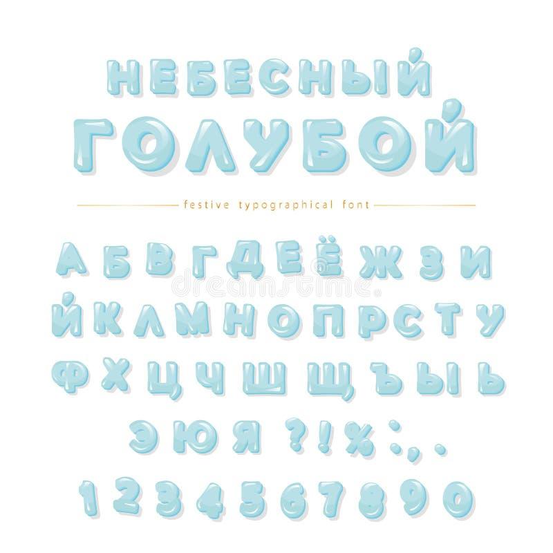 纯净的蓝色色的斯拉夫语字母的字体 光滑的装饰信件和数字 皇族释放例证