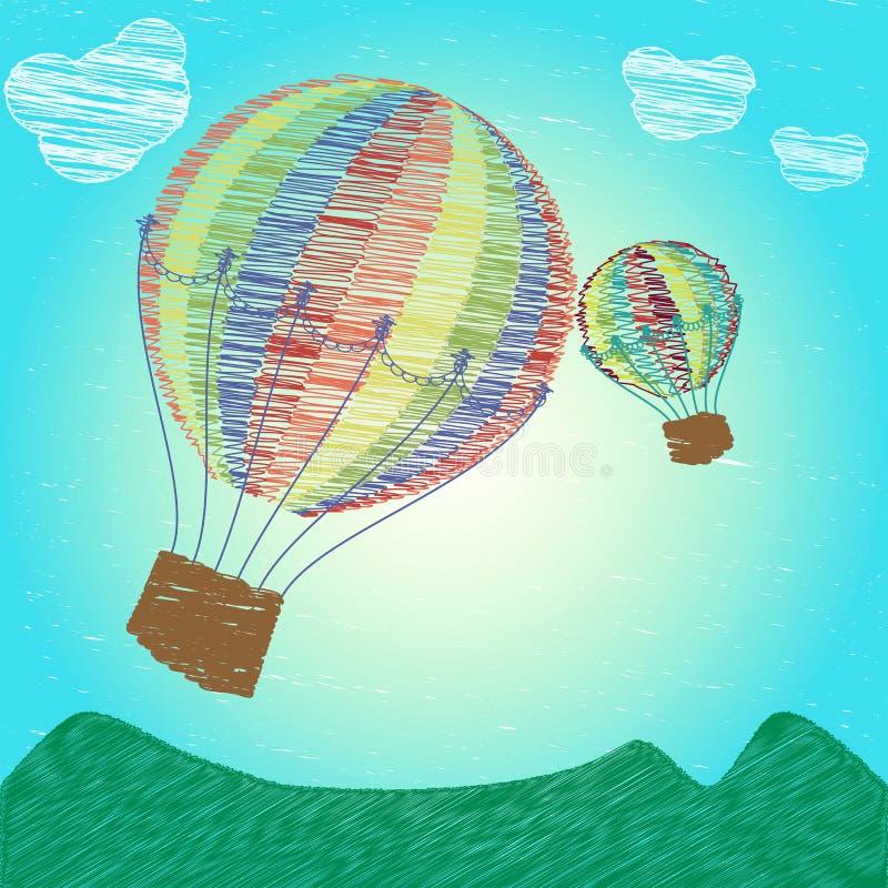 纯稚图画热空气气球 皇族释放例证