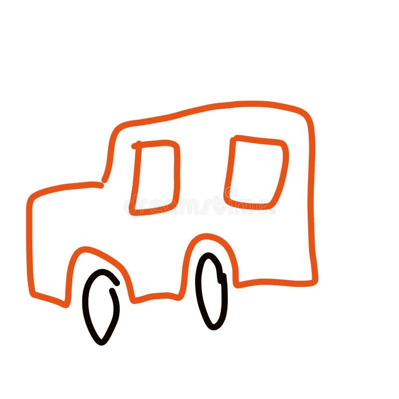 纯稚拉长的动画片红色汽车clipart 库存例证