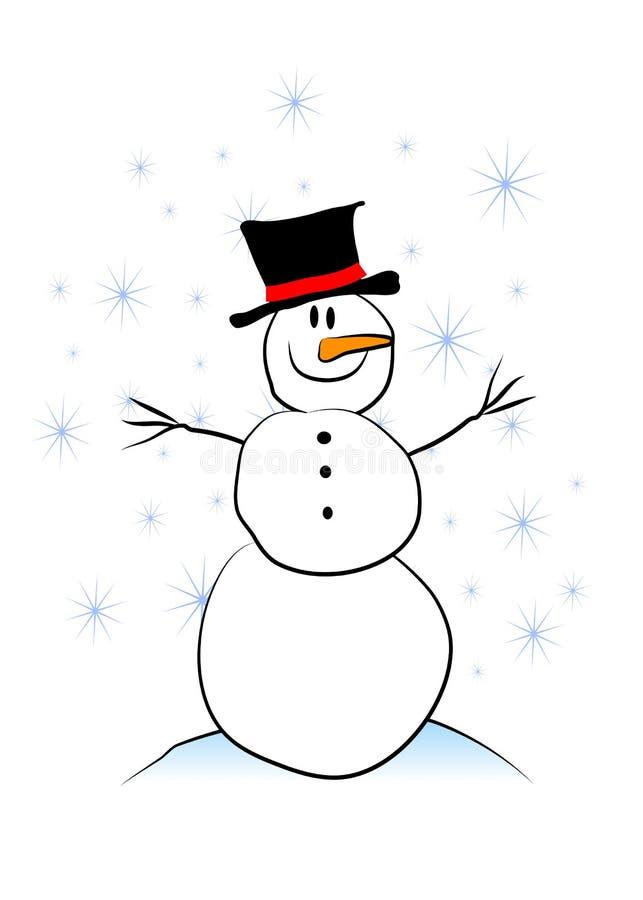 纯稚简单的雪人 库存例证