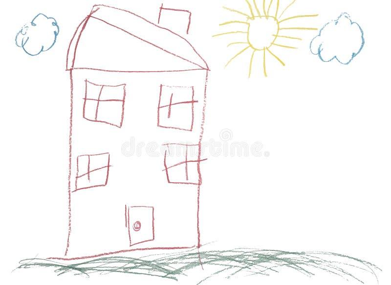 纯稚蜡笔被画的现有量房子照片 皇族释放例证