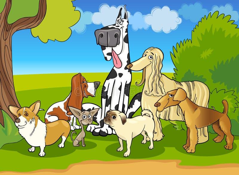 纯血统狗组动画片例证 库存例证