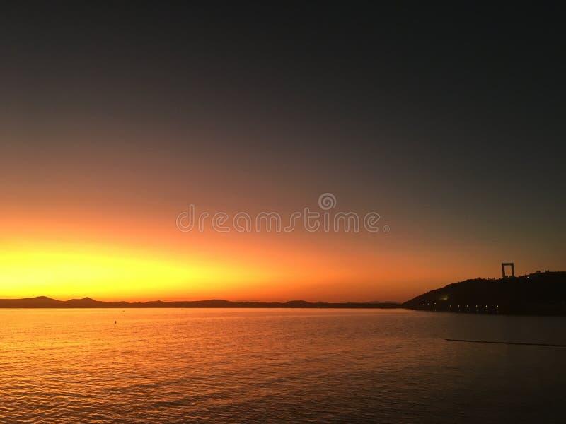 纳克索斯岛希腊日落晚上 免版税库存图片