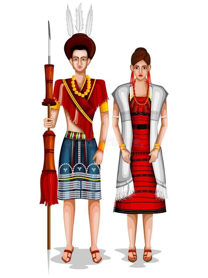 纳卡人在那加兰邦,印度传统服装的婚礼夫妇  库存例证