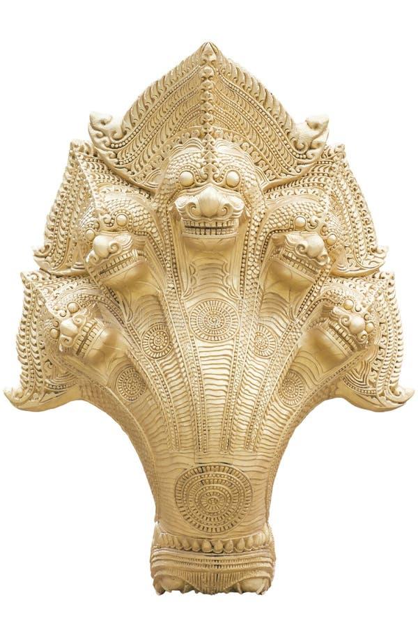 纳卡人的国王在被隔绝的背景的五个头 免版税库存照片