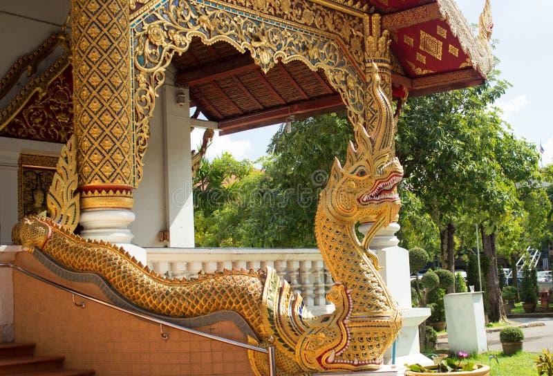 纳卡人蛇的细节在一个寺庙的在清迈泰国 免版税库存照片