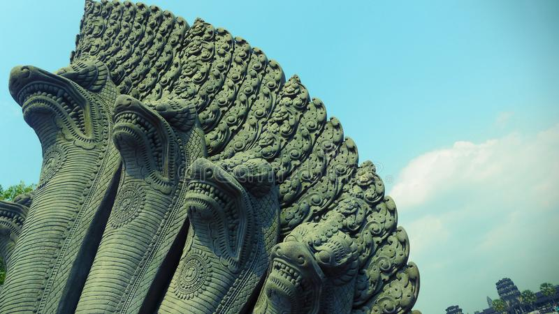 纳卡语,在吴哥窟,暹粒,柬埔寨的一个古老雕塑 免版税库存图片