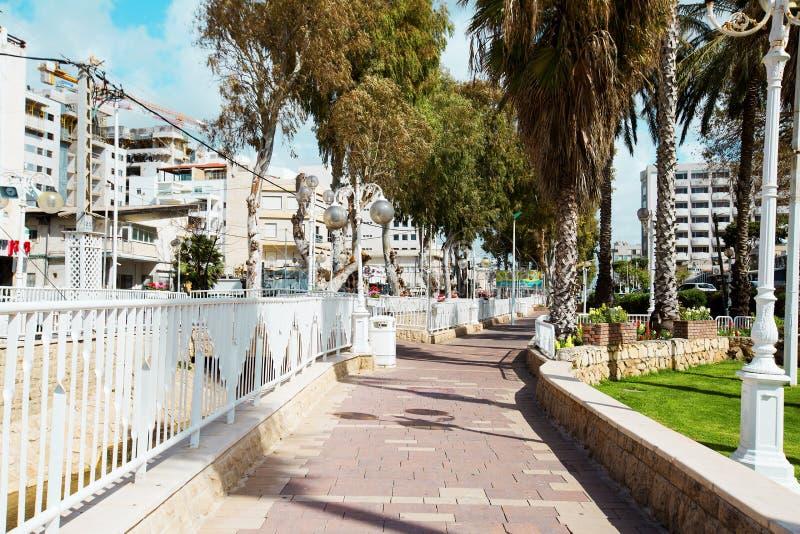 纳哈里亚, ISRAEL-MARCH 9日2018年:街道在纳哈里亚,以色列的中心 库存照片