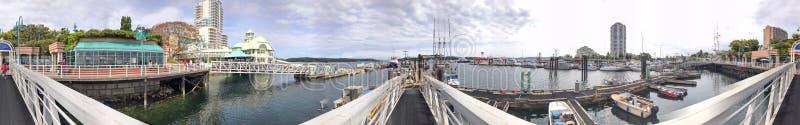 纳奈莫,加拿大- 2017年8月14日:有游人的城市港口 n 库存图片