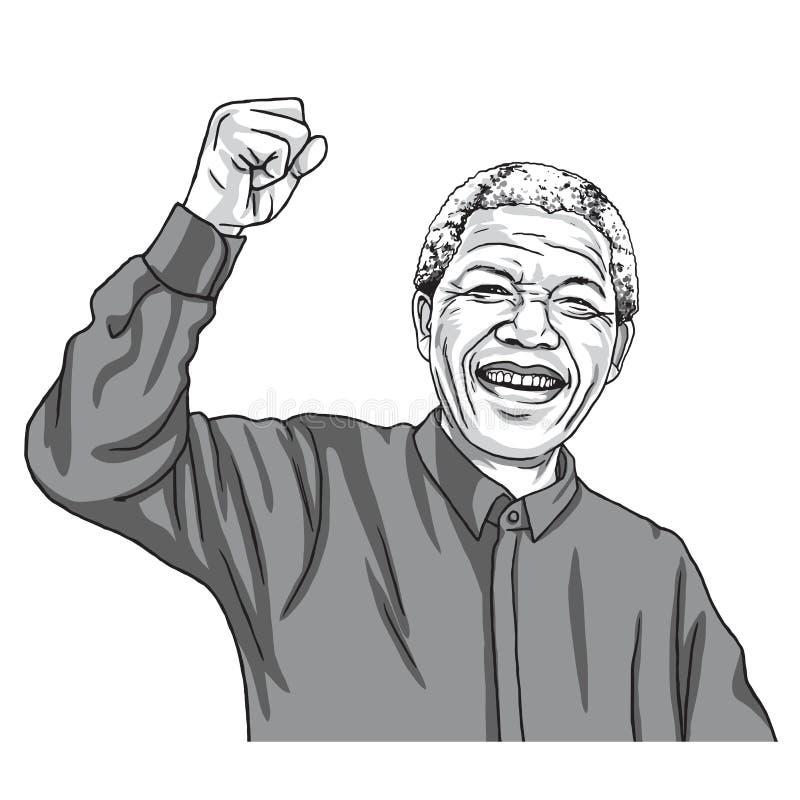 纳尔逊・曼德拉Madiba动画片讽刺画传染媒介例证 2017年9月11日 向量例证