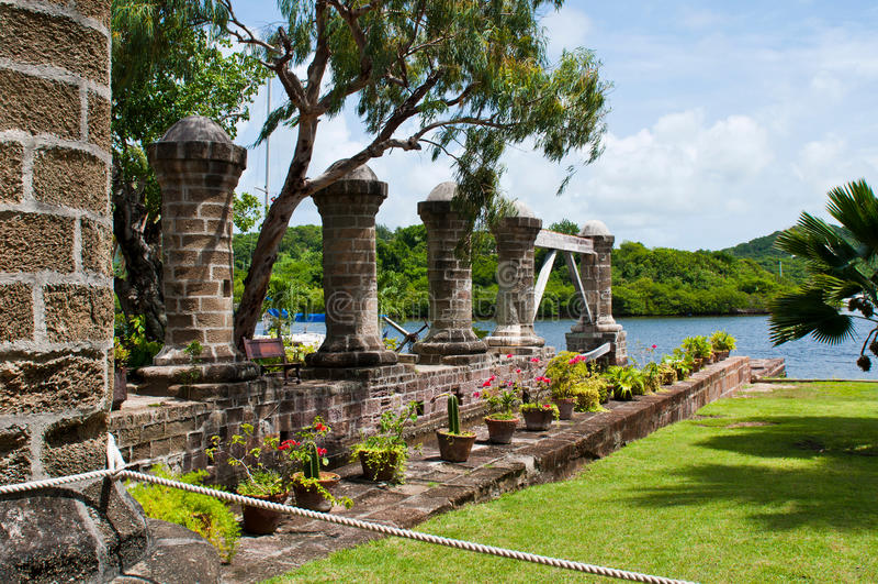纳尔逊的造船厂在安提瓜岛 免版税图库摄影
