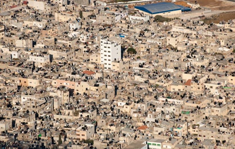 纳布卢斯市Shechem鸟瞰图从Gerizim登上的 免版税库存照片