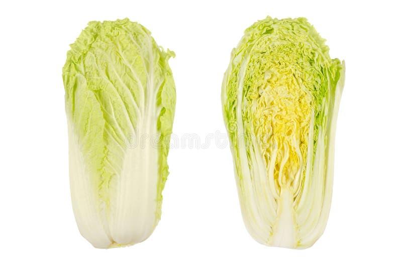 纳帕圆白菜,整个和半,大白菜,顶视图 库存照片