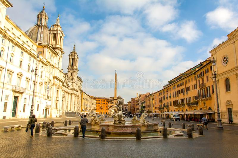 纳沃纳广场早晨视图在罗马 免版税库存照片