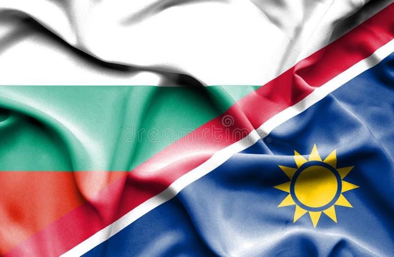 纳米比亚和保加利亚的挥动的旗子 向量例证