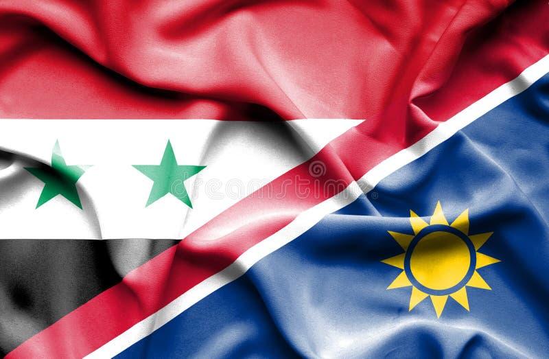 纳米比亚和叙利亚的挥动的旗子 向量例证