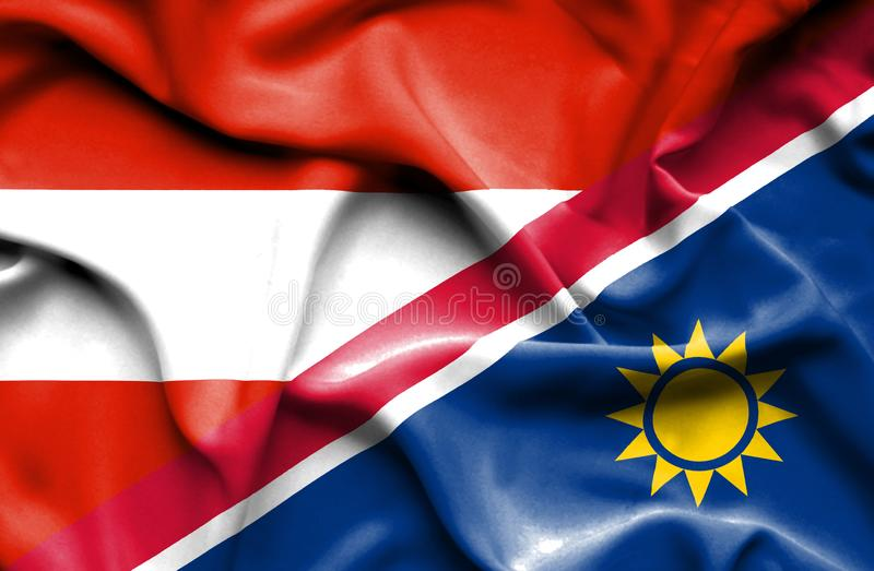 纳米比亚和奥地利的挥动的旗子 库存例证