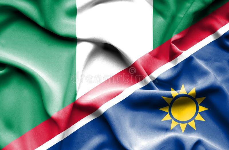 纳米比亚和尼日利亚的挥动的旗子 皇族释放例证
