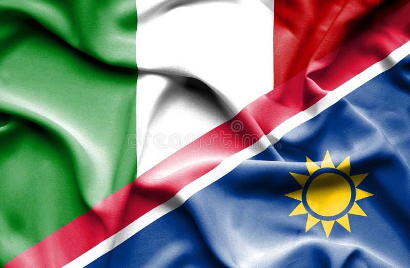 纳米比亚和意大利的挥动的旗子 库存例证