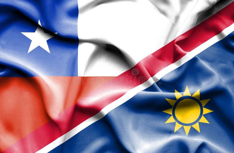 纳米比亚和智利的挥动的旗子 向量例证