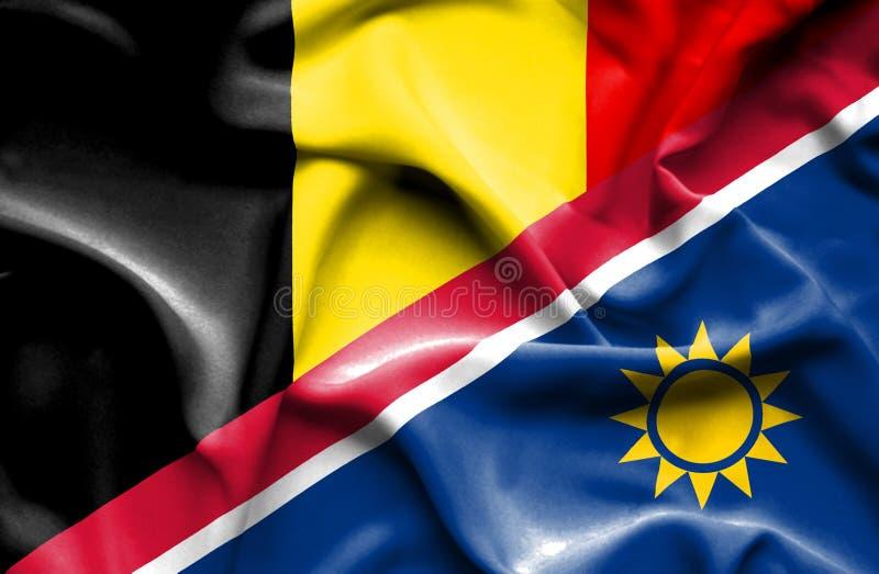 纳米比亚和比利时的挥动的旗子 向量例证