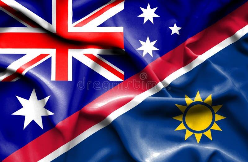 纳米比亚和澳大利亚的挥动的旗子 向量例证