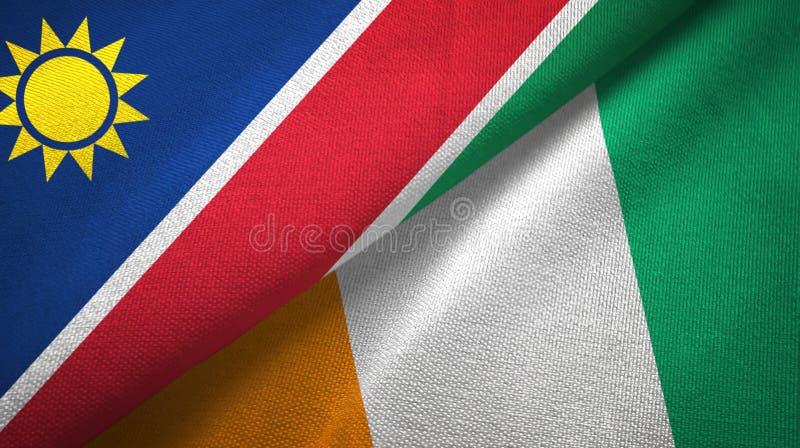 纳米比亚和科特迪瓦象牙海岸两旗子织物纹理 皇族释放例证
