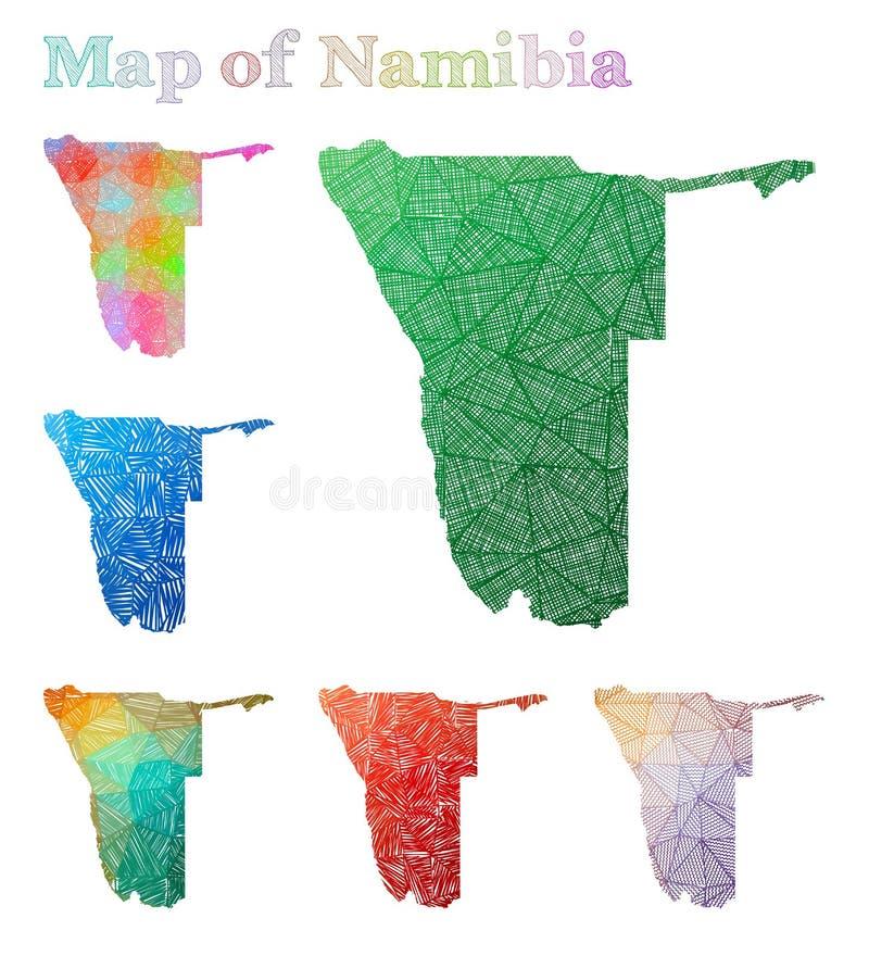 纳米比亚的手拉的地图 向量例证