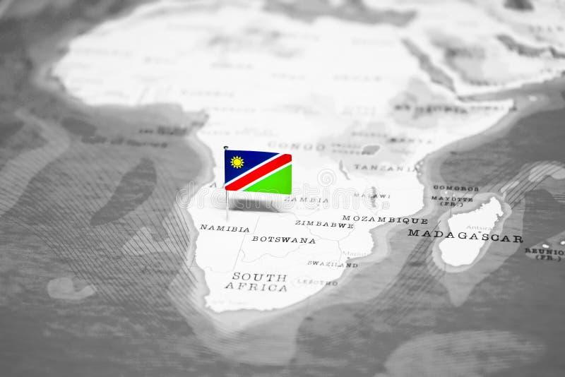 纳米比亚的旗子世界地图的 库存照片