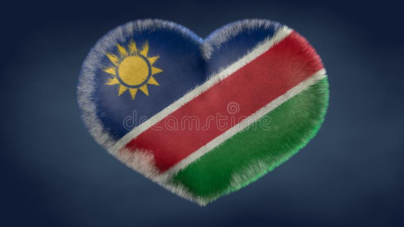 纳米比亚的旗子的心脏 库存例证