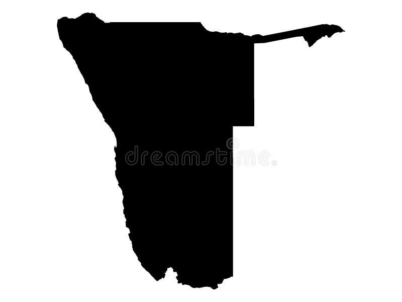 纳米比亚的黑地图 向量例证
