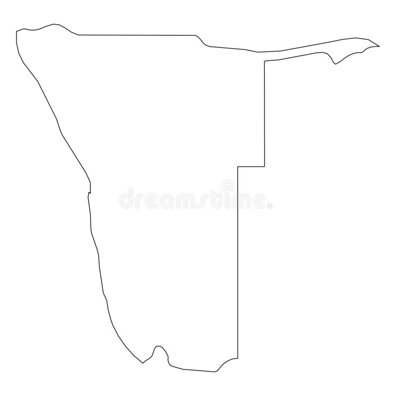 纳米比亚-国家区域坚实黑概述边界地图  简单的平的传染媒介例证 向量例证