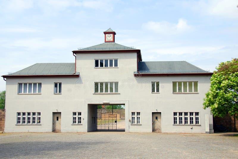 纳粹集中营入口  免版税图库摄影