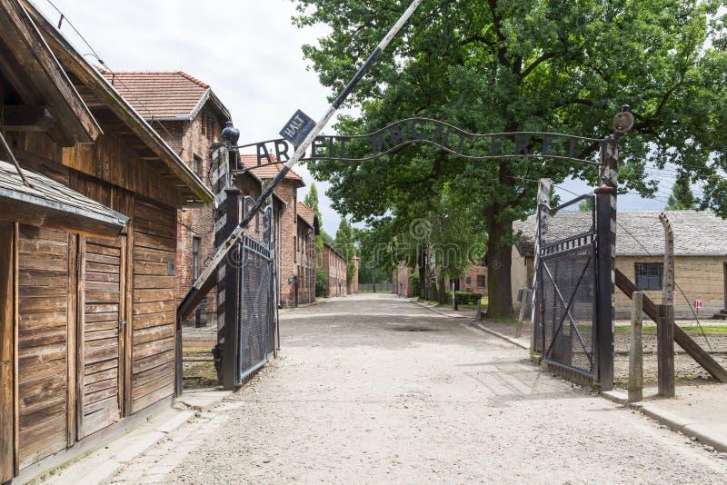 纳粹集中营奥斯威辛入口我 免版税库存照片