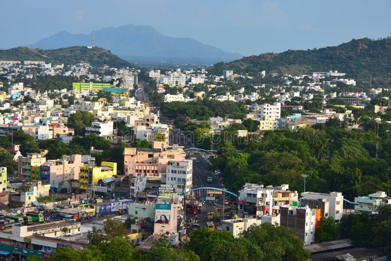 纳马卡尔,Tamilnadu -印度- 2018年10月17日:纳马卡尔全景从小丘的 免版税库存图片