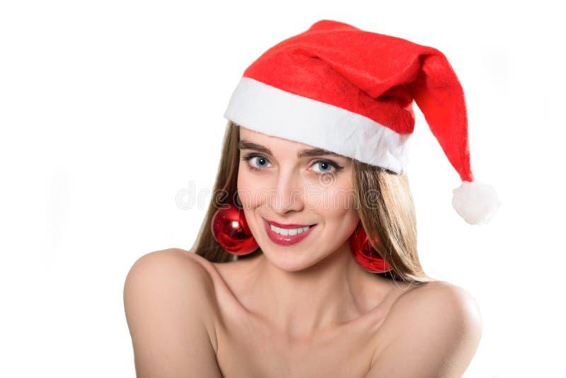 纵向俏丽圣诞老人女孩笑 免版税库存图片