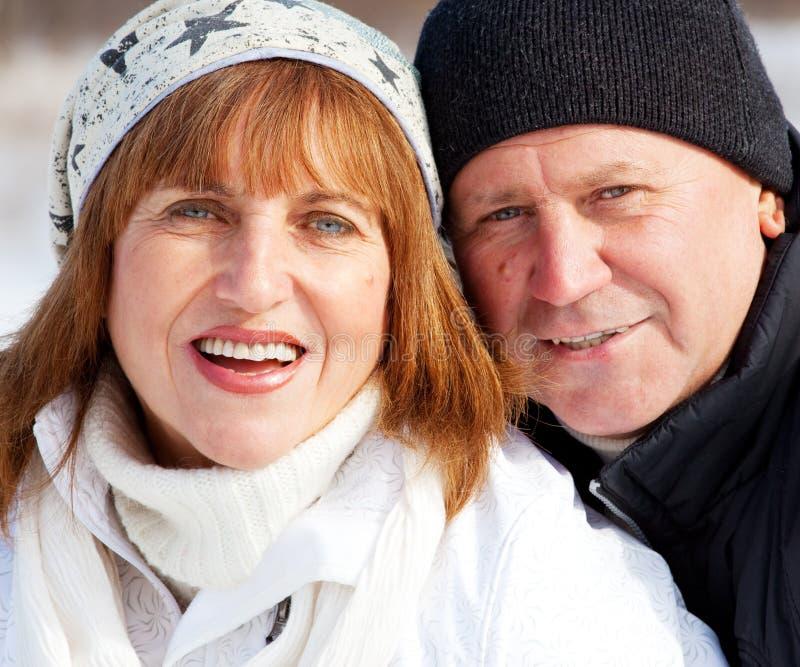 纵向前辈夫妇在冬天公园 库存照片
