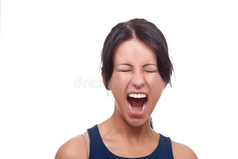 纵向叫喊的妇女 库存照片