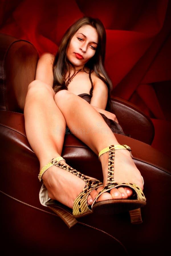纵向性感的妇女 免版税图库摄影