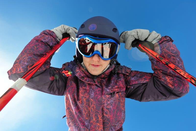 纵向滑雪者 免版税图库摄影