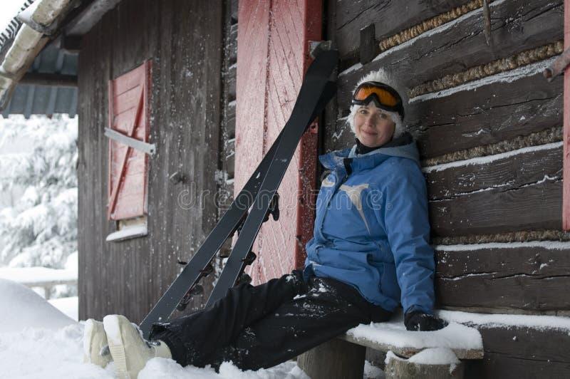纵向滑雪者 免版税库存照片