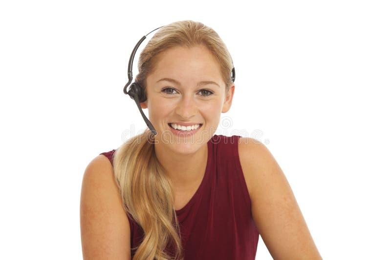 纵向电话推销员年轻人 免版税库存图片