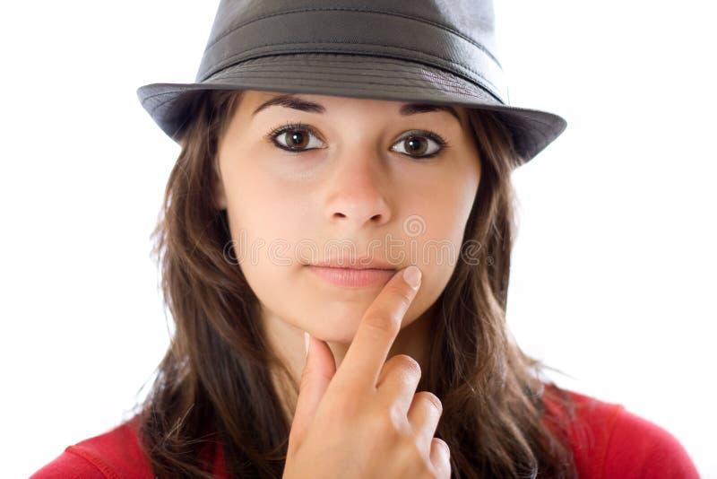 纵向认为的妇女 免版税图库摄影
