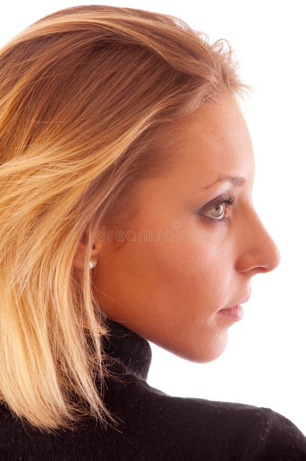 纵向配置文件妇女年轻人 免版税库存照片
