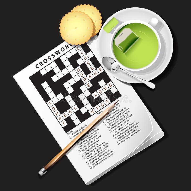 纵横填字谜比赛的例证与杯子的绿茶和薄脆饼干 库存例证