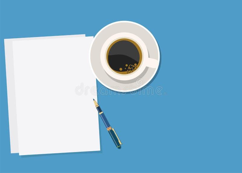 纸、笔和热的咖啡 向量例证