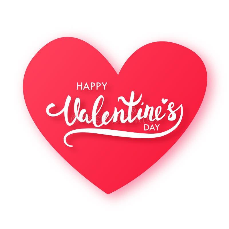纸与文本的被削减的红色心脏:愉快的情人节 库存例证