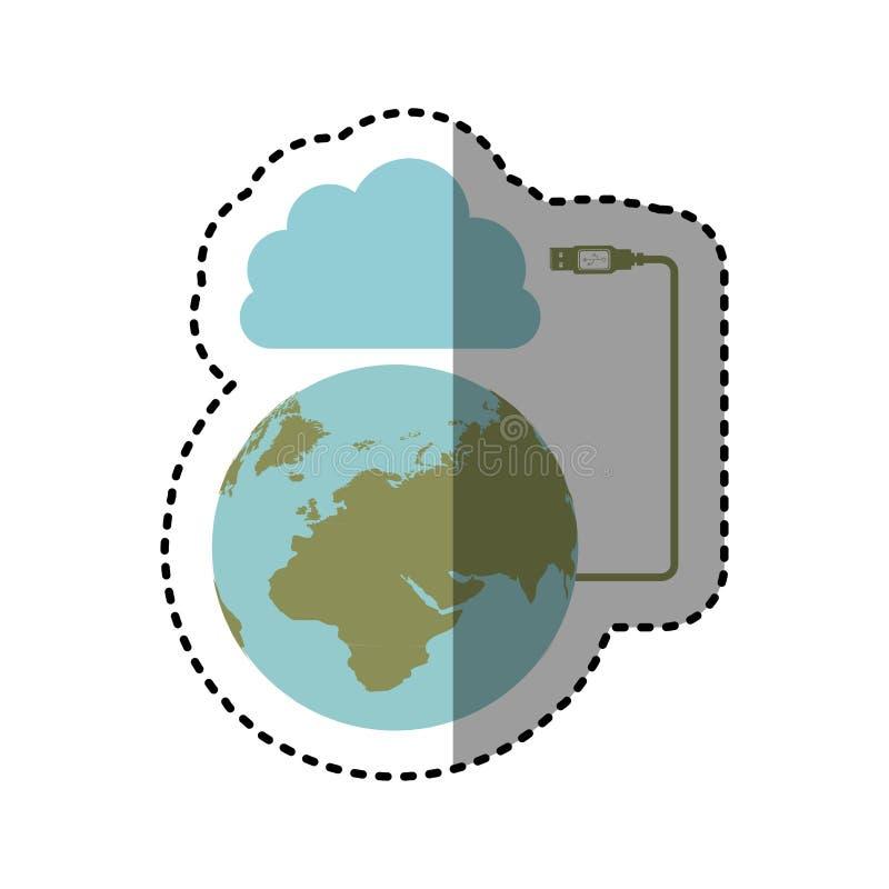 贴纸云彩存贮全球性主持的数据库 库存例证