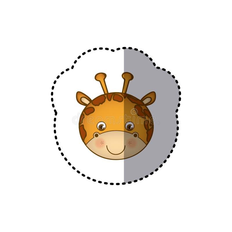 贴纸五颜六色的图片面孔逗人喜爱的长颈鹿动物 库存例证