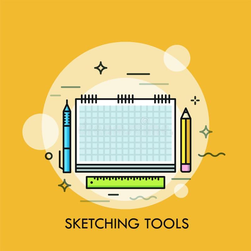 纸写生簿、笔、铅笔和统治者 速写的概念或绘图工具、项目创造性的设计师的或艺术家 向量例证